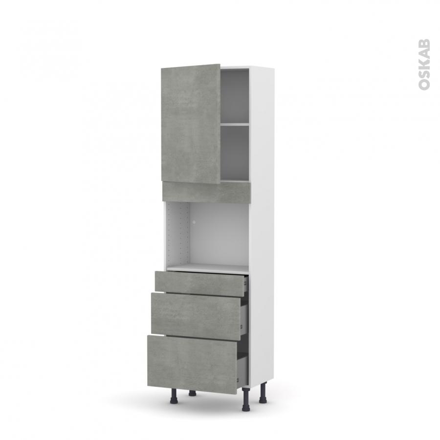 colonne de cuisine n 2158 four encastrable niche 45 fakto b ton 1 porte 3 tiroirs l60 x h195 x. Black Bedroom Furniture Sets. Home Design Ideas
