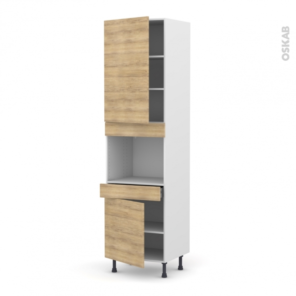 colonne de cuisine n 2456 four encastrable niche 45 hosta ch ne naturel 2 portes 1 tiroir l60 x. Black Bedroom Furniture Sets. Home Design Ideas