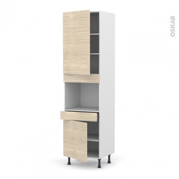 Colonne de cuisine n 2456 four encastrable niche 45 stilo noyer blanchi 2 portes 1 tiroir l60 x - Four encastrable hauteur 45 cm ...