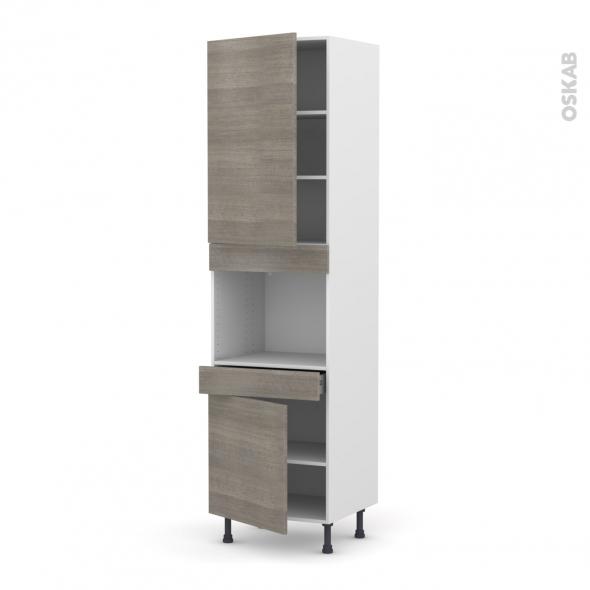 colonne de cuisine n 2456 four encastrable niche 45 stilo noyer naturel 2 portes 1 tiroir l60 x. Black Bedroom Furniture Sets. Home Design Ideas