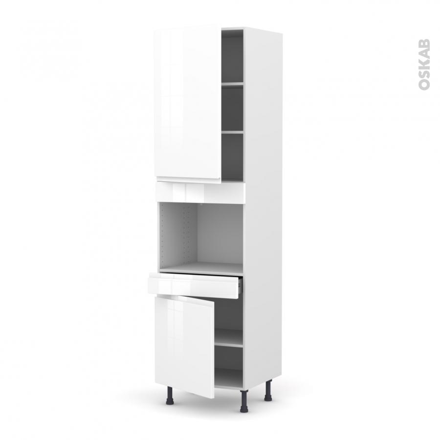 colonne de cuisine n 2456 four encastrable niche 45 ipoma blanc brillant 2 portes 1 tiroir l60 x. Black Bedroom Furniture Sets. Home Design Ideas
