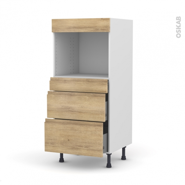 colonne de cuisine n 58 four encastrable niche 45 ipoma ch ne naturel 3 tiroirs l60 x h125 x p58. Black Bedroom Furniture Sets. Home Design Ideas