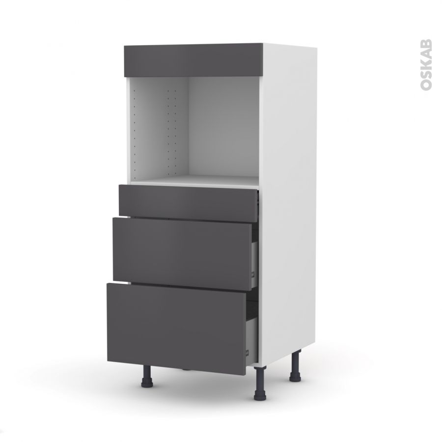 colonne de cuisine n 58 four encastrable niche 45 ginko gris 3 tiroirs l60 x h125 x p58 cm oskab. Black Bedroom Furniture Sets. Home Design Ideas