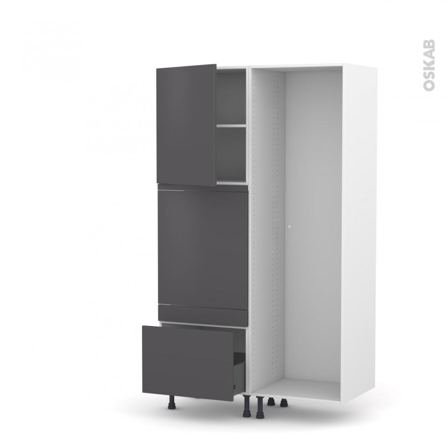 colonne de cuisine lave vaisselle full int grable ginko gris l60 x h195 x p58 cm oskab. Black Bedroom Furniture Sets. Home Design Ideas