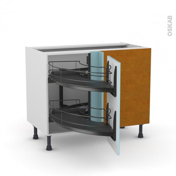 meuble de cuisine angle bas keria bleu demi lune coulissant epoxy tirant droit 1 porte l40 cm. Black Bedroom Furniture Sets. Home Design Ideas