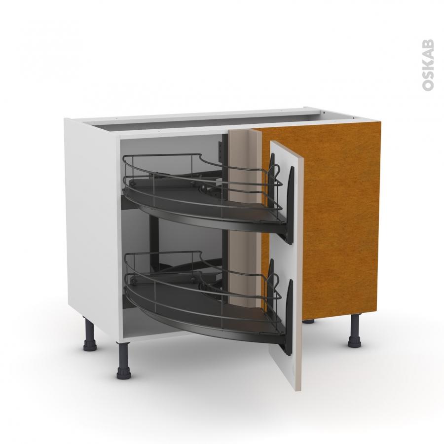 meuble de cuisine angle bas ginko taupe demi lune coulissant epoxy tirant droit 1 porte l40 cm. Black Bedroom Furniture Sets. Home Design Ideas