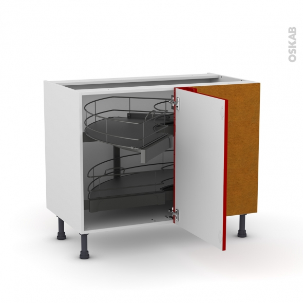 meuble de cuisine angle bas stecia rouge demi lune coulissant tirant droit 1 porte l50 cm mobile. Black Bedroom Furniture Sets. Home Design Ideas