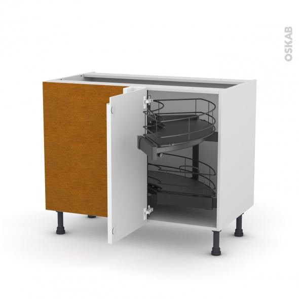 meuble de cuisine angle bas ipoma blanc brillant demi lune