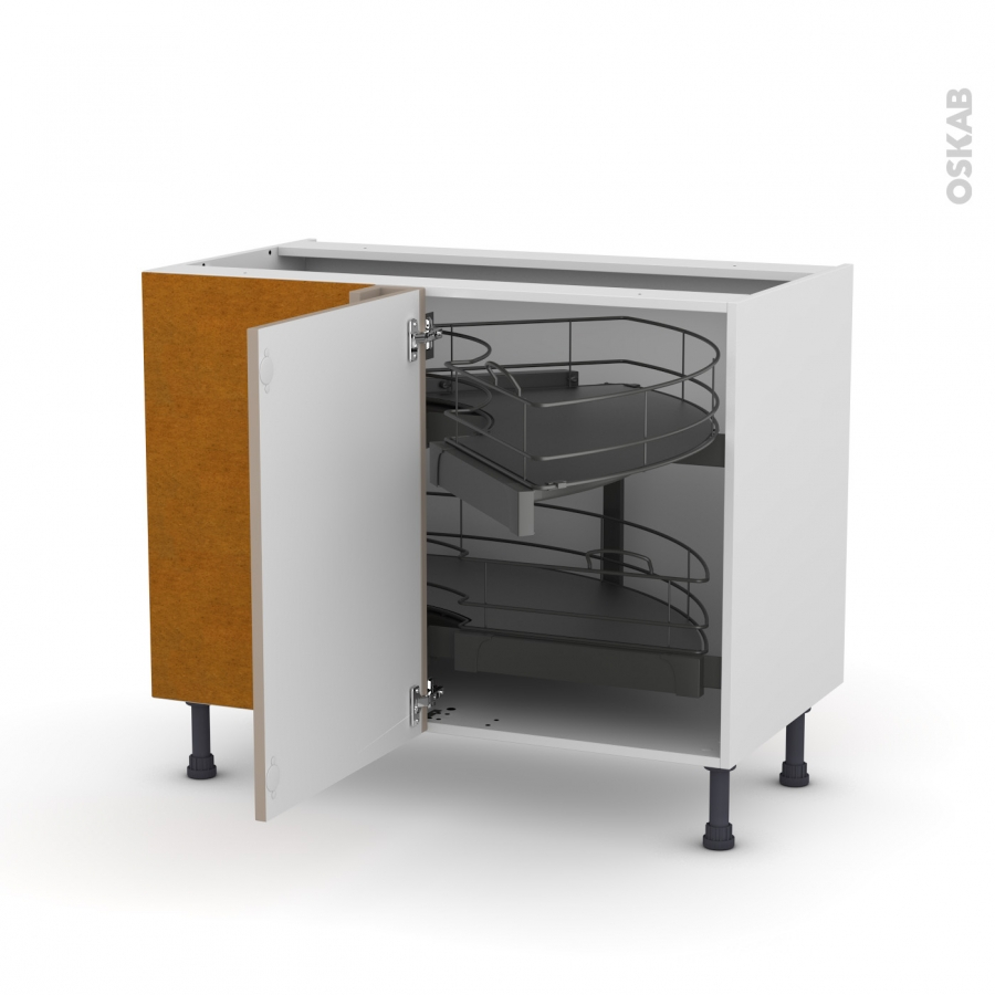 meuble de cuisine angle bas ginko taupe demi lune coulissant tirant gauche 1 porte l50 cm mobile. Black Bedroom Furniture Sets. Home Design Ideas