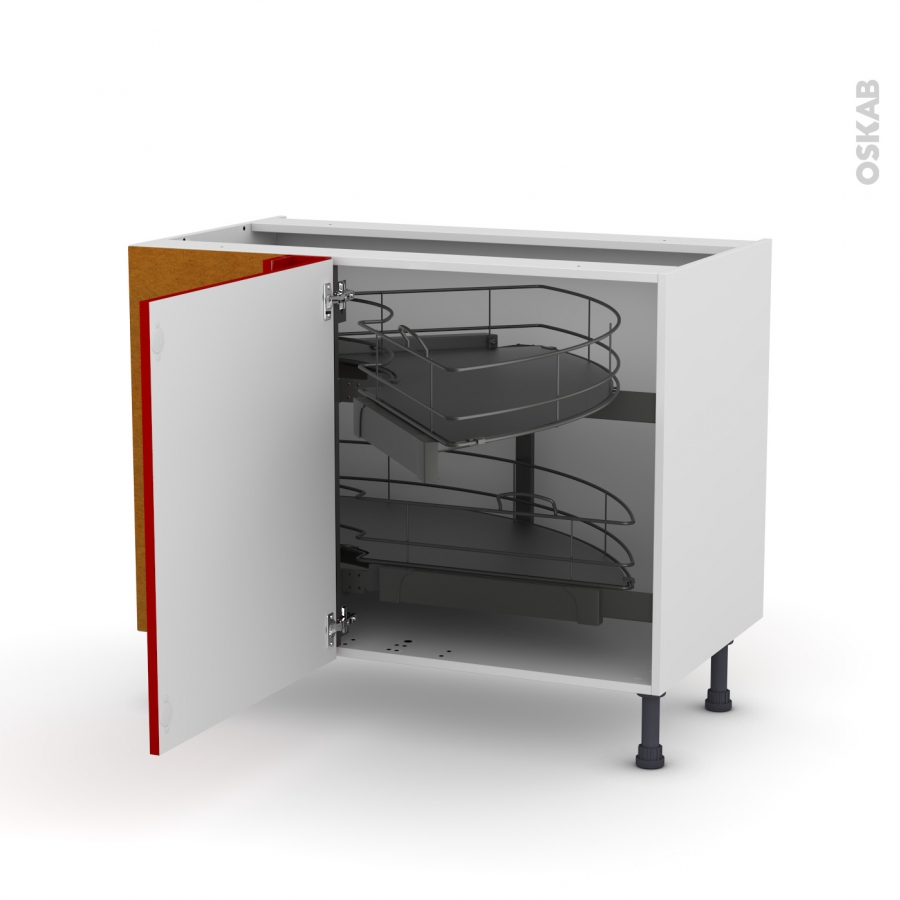 meuble de cuisine angle bas stecia rouge demi lune coulissant epoxy tirant gauche 1 porte l60 cm. Black Bedroom Furniture Sets. Home Design Ideas