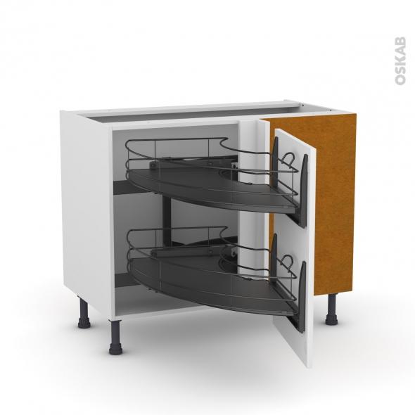 meuble de cuisine angle bas ginko blanc demi lune coulissant epoxy tirant droit 1 porte l50 cm. Black Bedroom Furniture Sets. Home Design Ideas