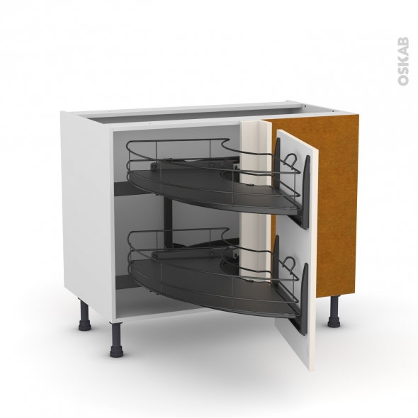 meuble de cuisine angle bas keria ivoire demi lune coulissant epoxy tirant droit 1 porte l50 cm. Black Bedroom Furniture Sets. Home Design Ideas