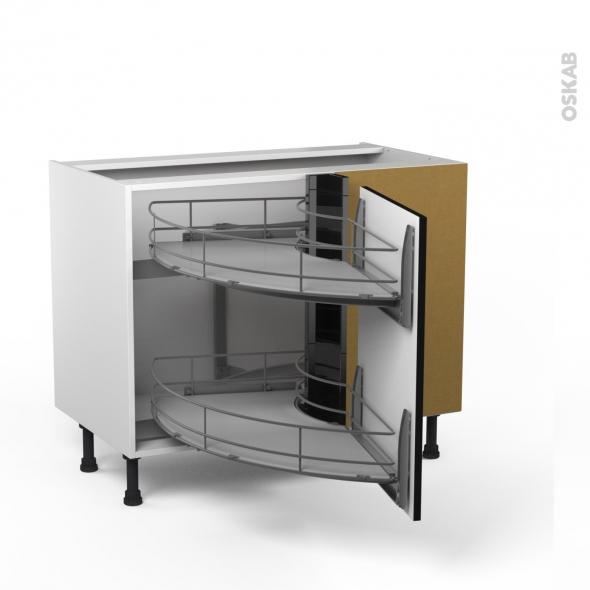 meuble angle bas demi lune coulissant epoxy tirant droit 1 porte l50 l100xh70xp58 keria noir oskab. Black Bedroom Furniture Sets. Home Design Ideas