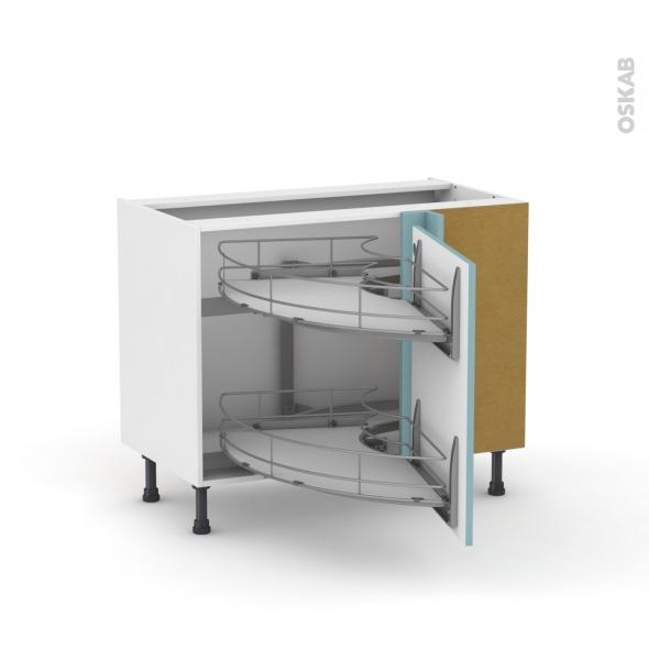 Keria bleu meuble angle bas demi lune coulissant epoxy for Demi lune cuisine