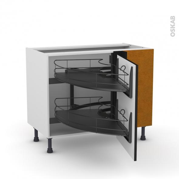 meuble de cuisine angle bas ginko noir demi lune coulissant epoxy tirant droit 1 porte l60 cm. Black Bedroom Furniture Sets. Home Design Ideas
