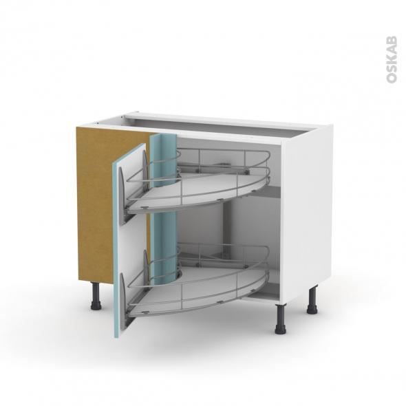 Keria bleu meuble angle bas demi lune coulissant epoxy Demi lune meuble cuisine
