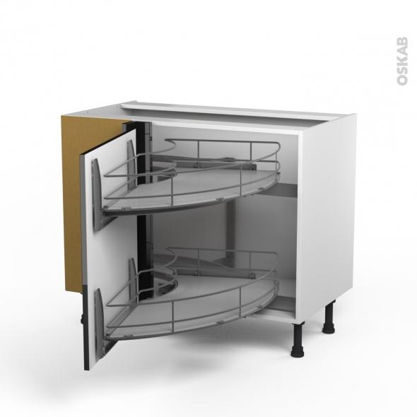 meuble angle bas demi lune coulissant epoxy tirant gauche 1 porte l60 l100xh70xp58 keria noir. Black Bedroom Furniture Sets. Home Design Ideas