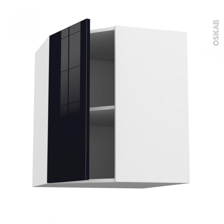Meuble de cuisine angle haut keria noir 1 porte n 19 l40 for Porte cuisine 60 x 40