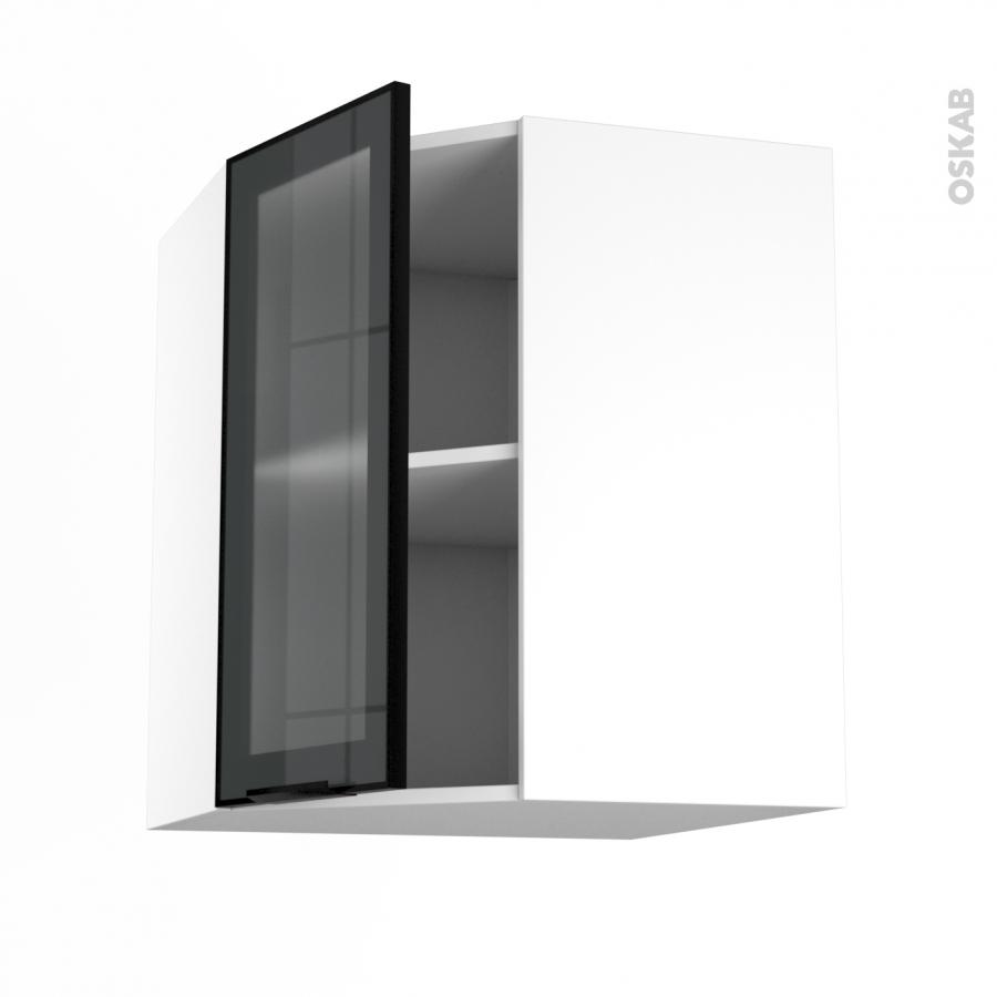 Meuble de cuisine angle haut vitr fa ade noire alu 1 for Porte cuisine 40 60