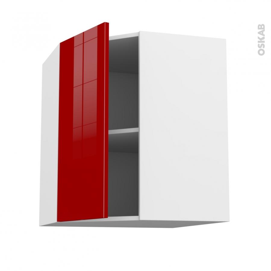 Meuble de cuisine angle haut stecia rouge 1 porte n 19 l40 for Porte cuisine 40 60