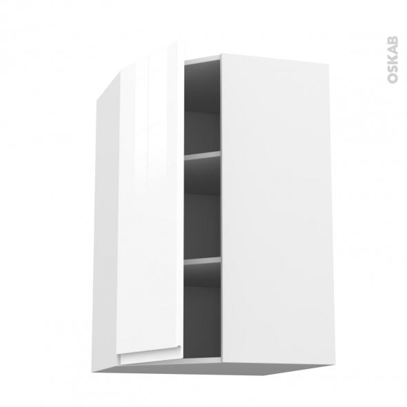 Meuble de cuisine angle haut ipoma blanc brillant 1 porte for Porte cuisine blanc brillant