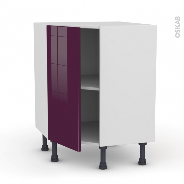 meuble de cuisine angle bas keria aubergine 1 porte n 19 l40 cm l65 x h70 x p37cm oskab. Black Bedroom Furniture Sets. Home Design Ideas