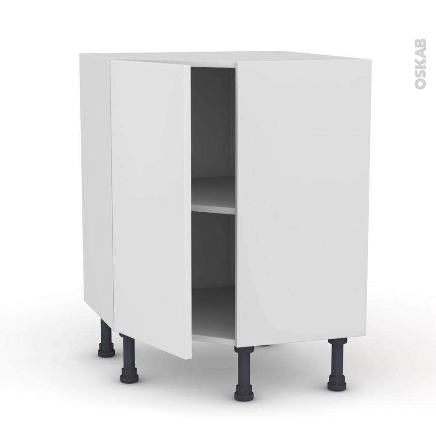 Meuble de cuisine angle bas ginko blanc 1 porte n 19 l40 for Meuble de cuisine blanc