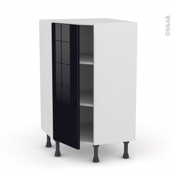 meuble de cuisine angle bas keria noir 1 porte n 23 l40 cm. Black Bedroom Furniture Sets. Home Design Ideas