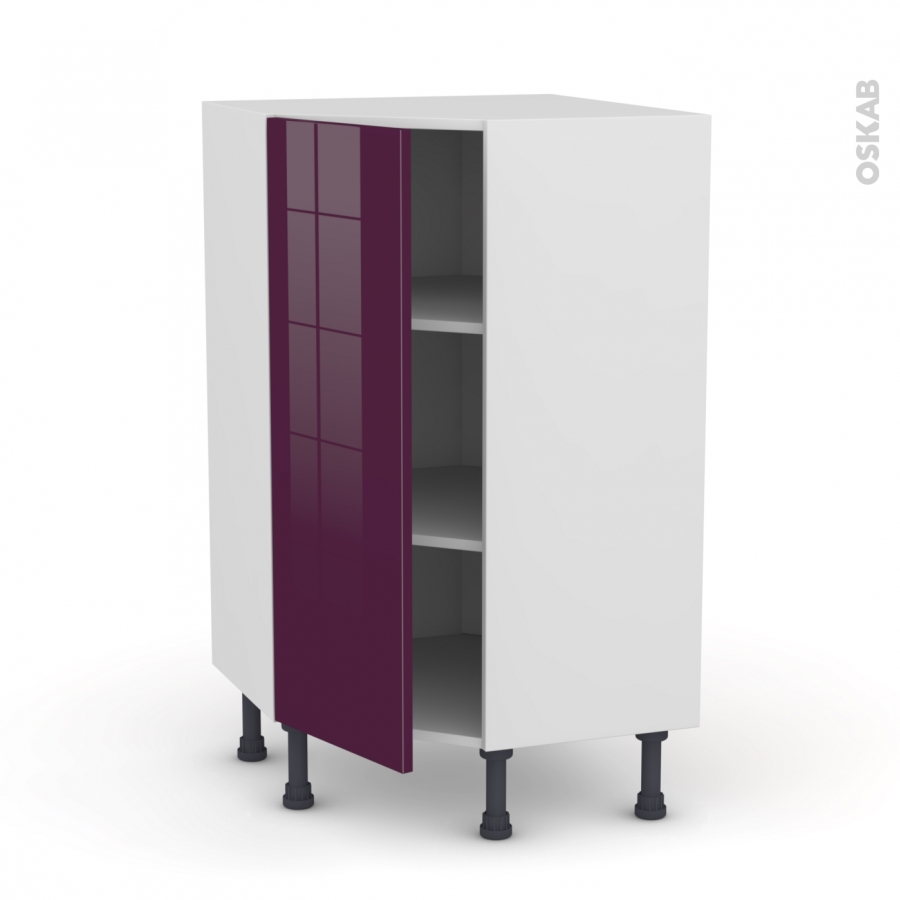 meuble de cuisine angle bas keria aubergine 1 porte n 23 l40 cm l65 x h92 x p37cm oskab. Black Bedroom Furniture Sets. Home Design Ideas