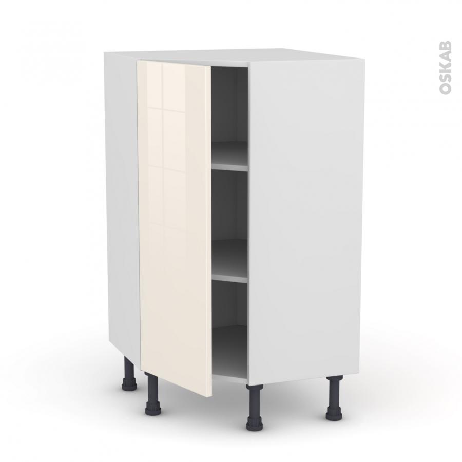 meuble de cuisine angle bas keria ivoire 1 porte n 23 l40 cm l65 x h92 x p37cm oskab. Black Bedroom Furniture Sets. Home Design Ideas