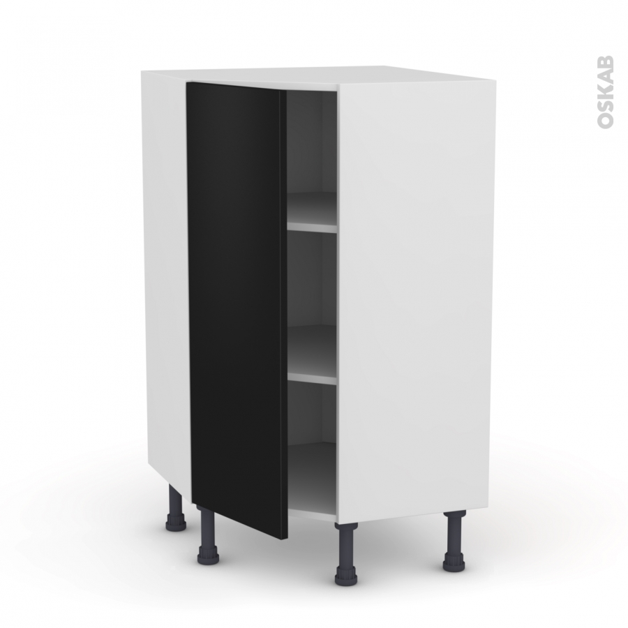 meuble de cuisine angle bas ginko noir 1 porte n 23 l40 cm. Black Bedroom Furniture Sets. Home Design Ideas