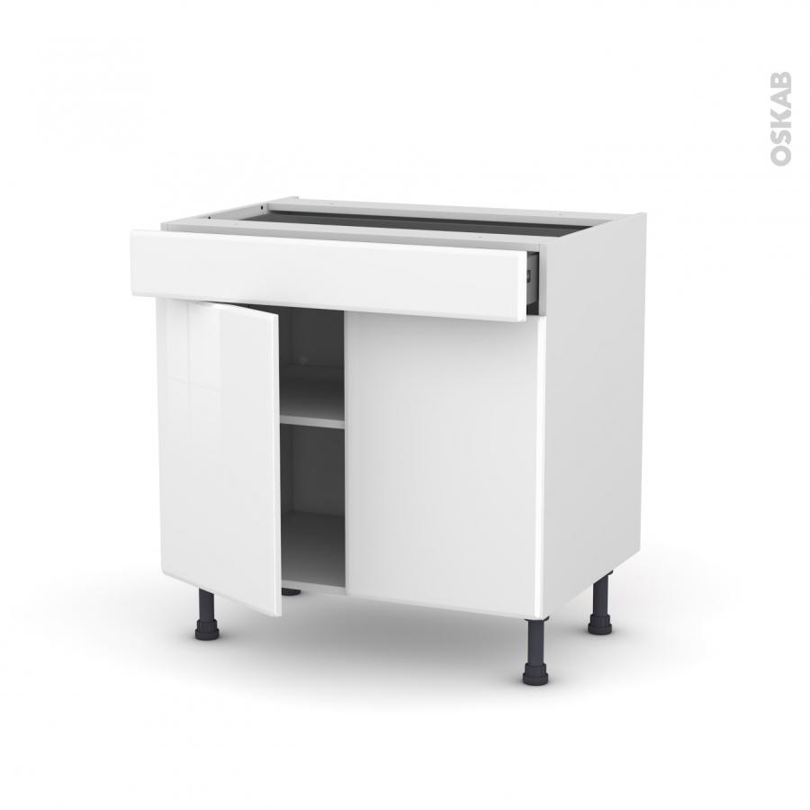 Meuble de cuisine bas iris blanc 2 portes 1 tiroir l80 x for Meuble cuisine une porte