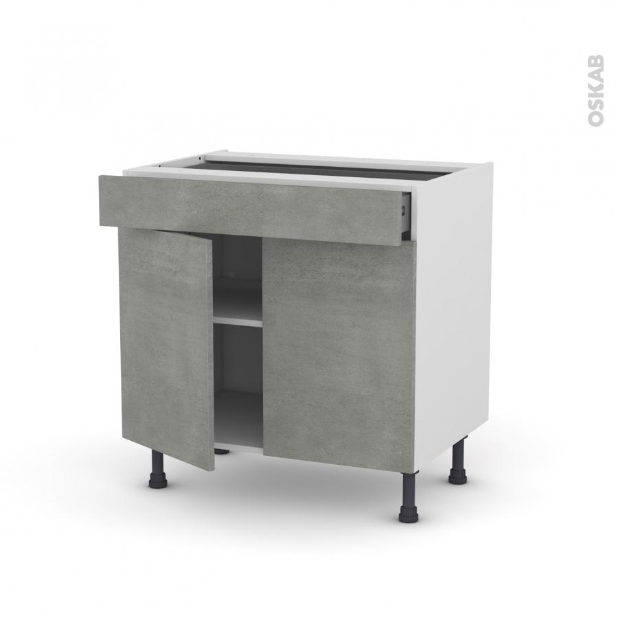Meuble de cuisine bas fakto b ton 2 portes 1 tiroir l80 x for Cuisine 3d oskab
