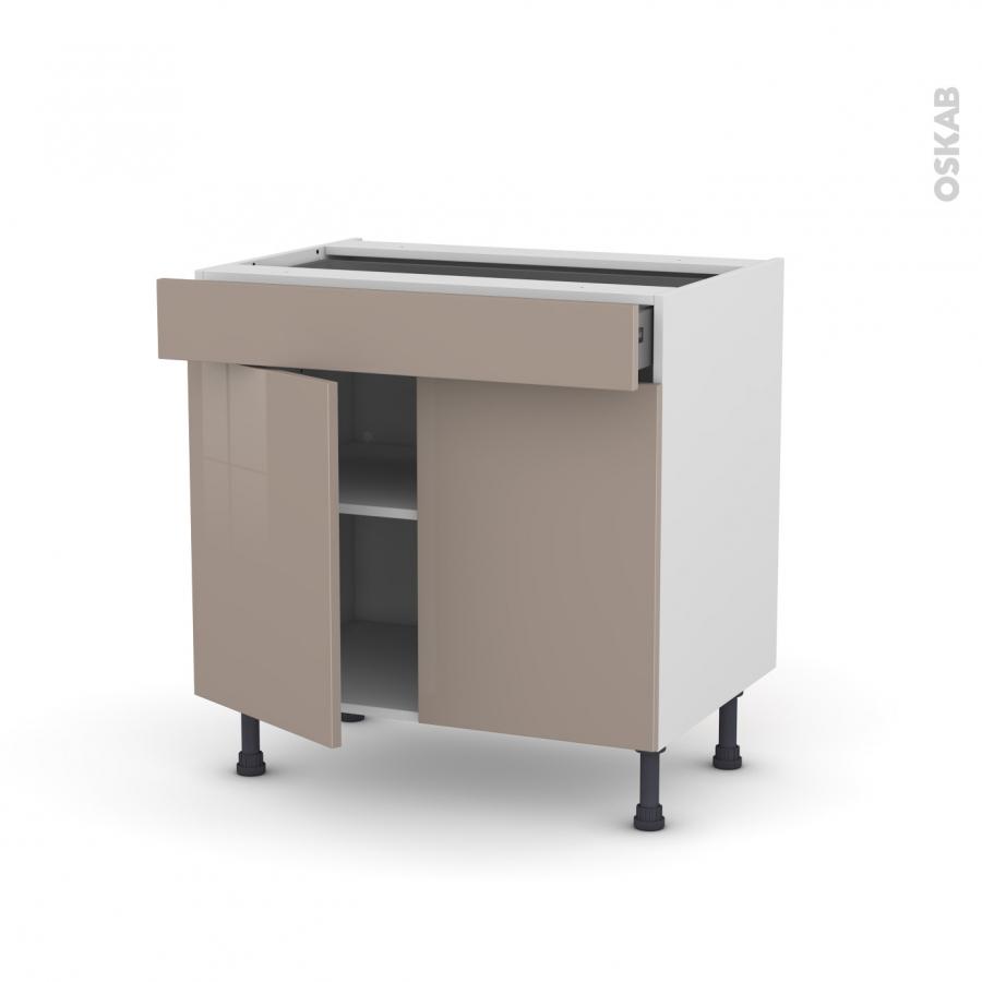 Meuble de cuisine bas keria moka 2 portes 1 tiroir l80 x for Meuble cuisine a tiroir