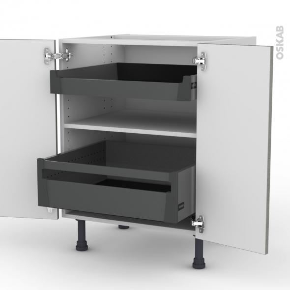 Meuble de cuisine bas fakto b ton 2 portes 2 tiroirs l - Meuble bas cuisine 2 portes 2 tiroirs ...
