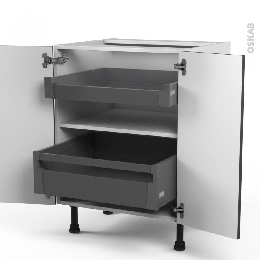 meuble de cuisine bas ginko gris 2 portes 2 tiroirs l 39 anglaise l60 x h70 x p58 cm oskab. Black Bedroom Furniture Sets. Home Design Ideas