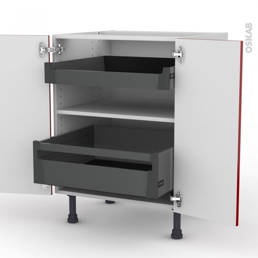 Meuble de cuisine bas stecia rouge 2 tiroirs l 39 anglaise for Meuble bas cuisine rouge