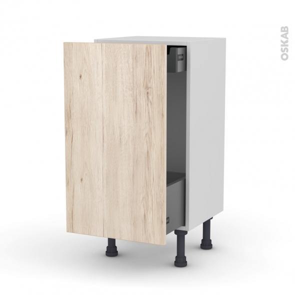 meuble de cuisine bas coulissant ikoro ch ne clair 1 porte 1 tiroir l 39 anglaise l40 x h70 x p37. Black Bedroom Furniture Sets. Home Design Ideas