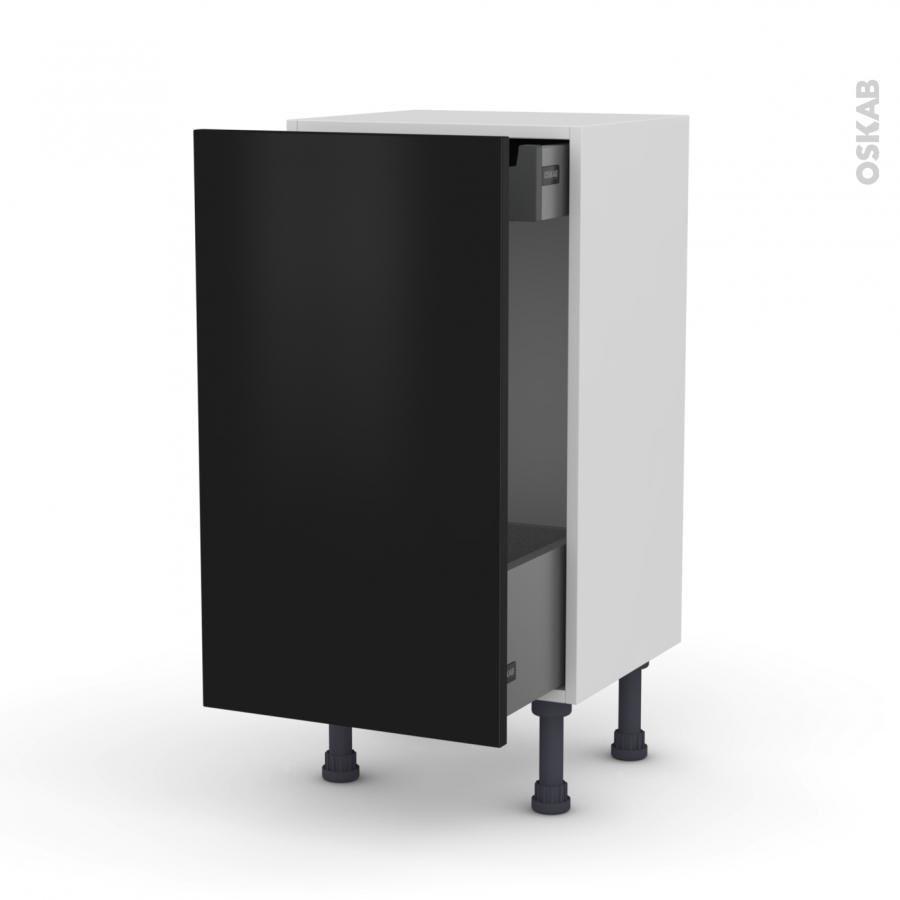 meuble de cuisine bas coulissant ginko noir 1 porte 1 tiroir l 39 anglaise l40 x h70 x p37 cm oskab. Black Bedroom Furniture Sets. Home Design Ideas
