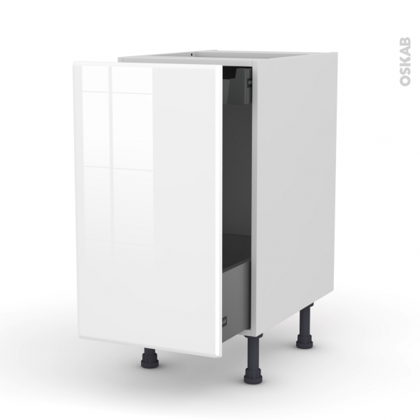 meuble de cuisine bas coulissant iris blanc 1 porte 1 tiroir l 39 anglaise l40 x h70 x p58 cm oskab. Black Bedroom Furniture Sets. Home Design Ideas