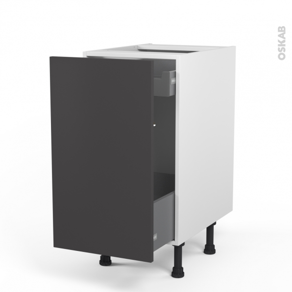 meuble de cuisine bas coulissant ginko gris 1 porte 1 tiroir l 39 anglaise l40 x h70 x p58 cm oskab. Black Bedroom Furniture Sets. Home Design Ideas