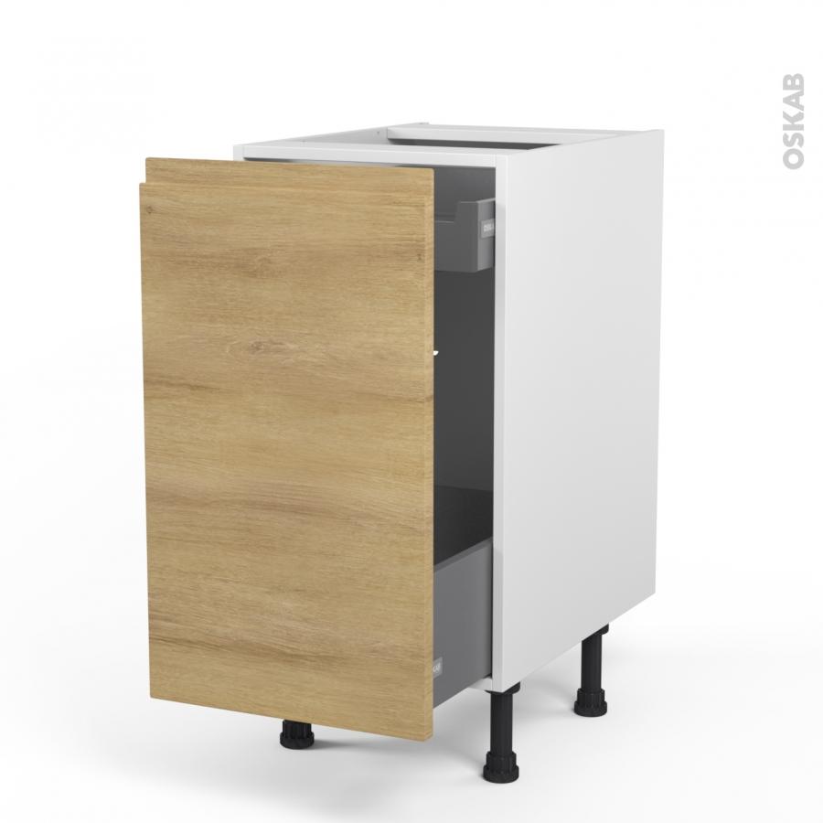 meuble de cuisine bas coulissant ipoma ch ne naturel 1 porte 1 tiroir l 39 anglaise l40 x h70 x. Black Bedroom Furniture Sets. Home Design Ideas