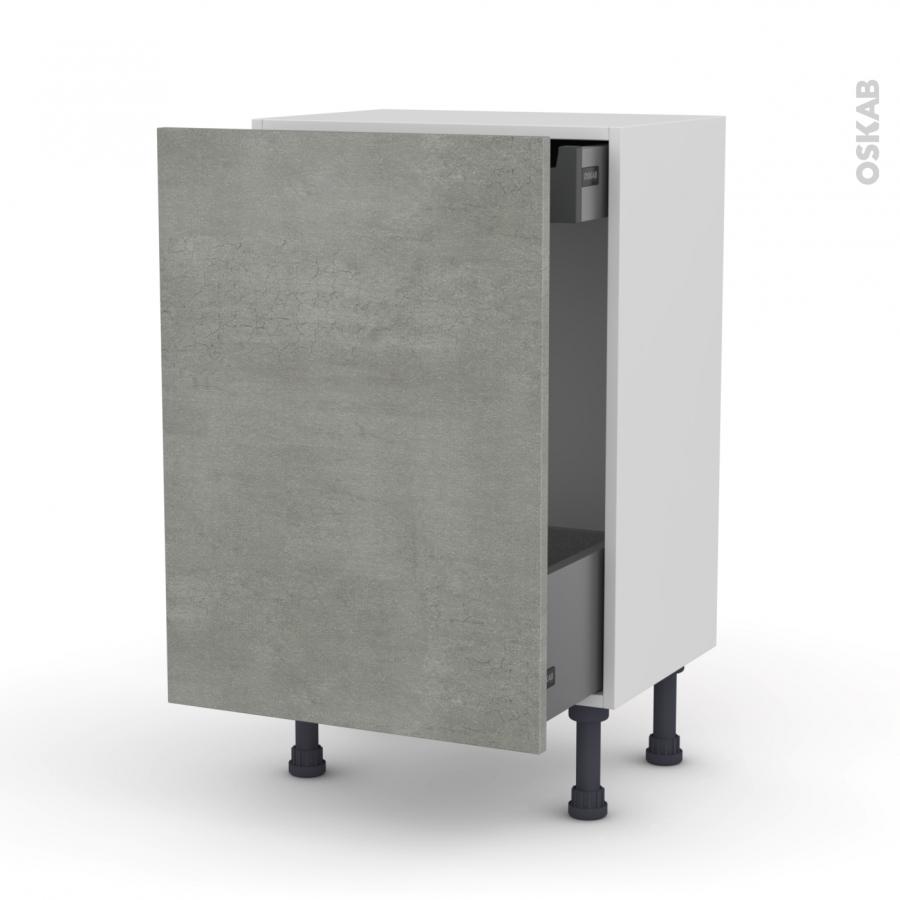 Meuble de cuisine bas coulissant fakto b ton 1 porte 1 for Meuble cuisine tiroir coulissant