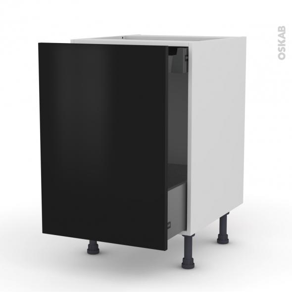 Meuble de cuisine bas coulissant ginko noir 1 porte 1 for Tiroir coulissant pour meuble cuisine