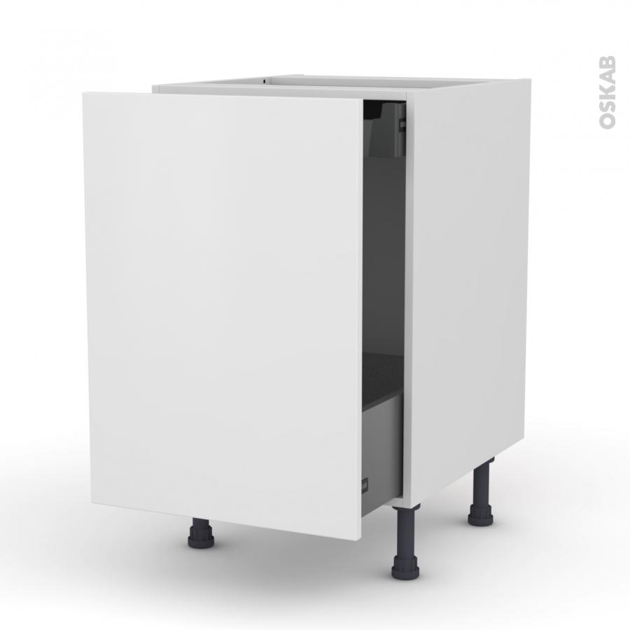 meuble de cuisine bas coulissant ginko blanc 1 porte 1 tiroir l 39 anglaise l50 x h70 x p58 cm. Black Bedroom Furniture Sets. Home Design Ideas