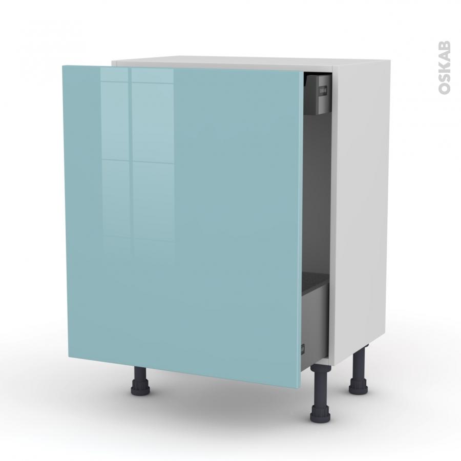 Meuble de cuisine bas coulissant keria bleu 1 porte 1 - Meuble bas cuisine 37 cm profondeur ...
