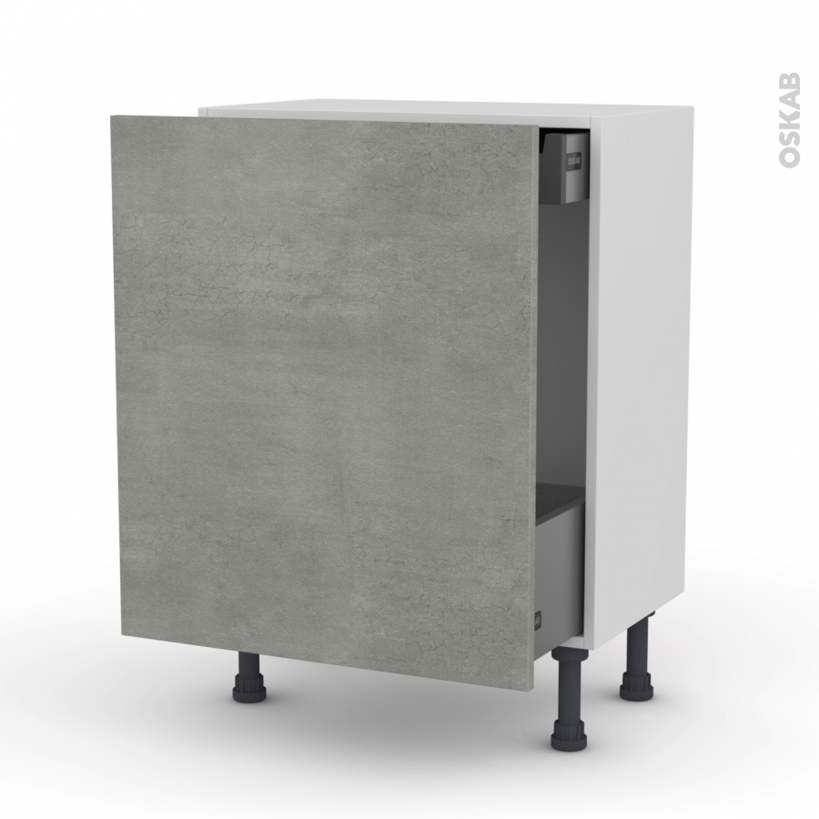 Meuble de cuisine bas coulissant fakto b ton 1 porte 1 - Meuble bas cuisine 37 cm profondeur ...