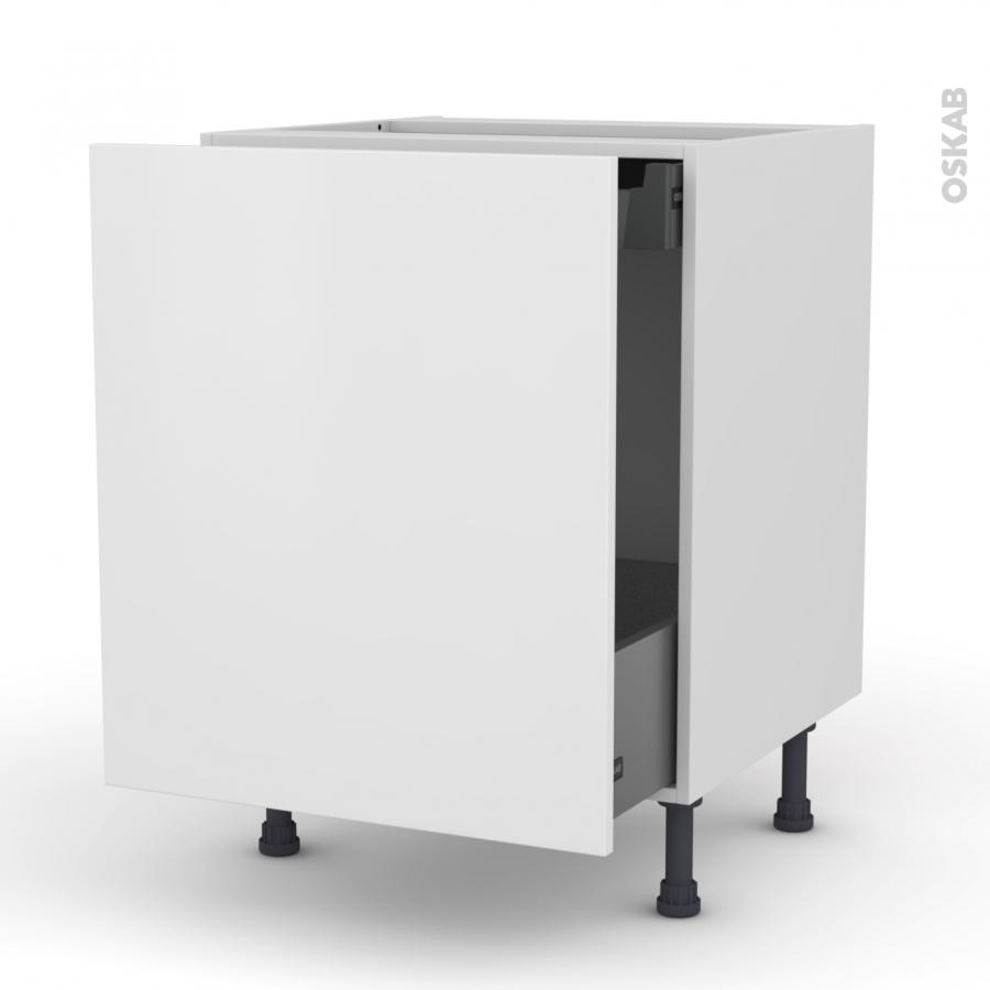 meuble de cuisine bas coulissant ginko blanc 1 porte 1 tiroir l 39 anglaise l60 x h70 x p58 cm. Black Bedroom Furniture Sets. Home Design Ideas