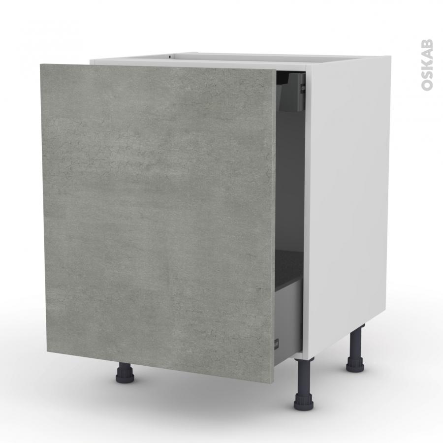 meuble de cuisine bas coulissant fakto b ton 1 porte 1 tiroir l 39 anglaise l60 x h70 x p58 cm. Black Bedroom Furniture Sets. Home Design Ideas