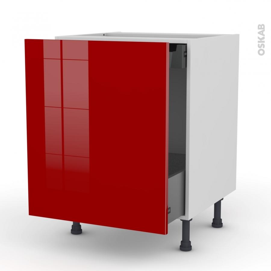Meuble de cuisine bas coulissant stecia rouge 1 porte 1 for Meuble 1 porte 1 tiroir